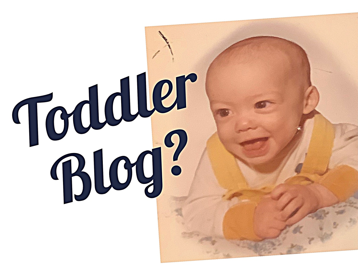 Headshot of cute little boy with hands crossed under chin. Caption says: Toddler Blogging?