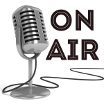 "White background shows large red letters that say, ""On Air"" with an oldtime microphone for a radio broadcast"